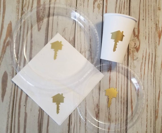 House warming plates, cups and napkins, new home party, house closing party, welcome home party, house warming shower