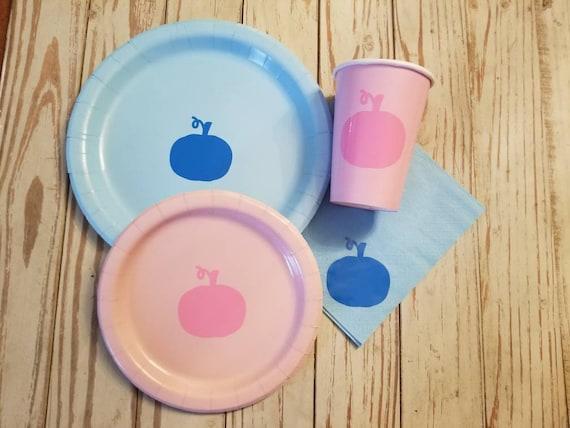 Pumpkin gender reveal plates, cups and napkins, pumpkin baby shower, harvest party, fall baby shower, pumpkin first birthday, pumpkin party