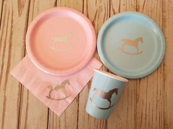 Rocking Horse Plates Cups And Napkins Horse Baby Shower Etsy