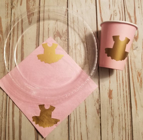 Tutu party plates, cups and napkins, ballerina party, dance party, girl baby shower, pink and gold, first birthday,