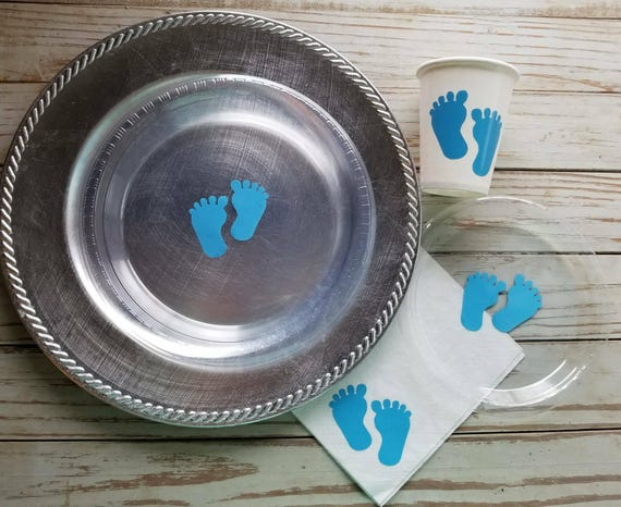 Baby feet in blue and pink plates, cups and napkins, baby shower plates, cups, baby feet gender reveal plates, cups, napkins, gender reveal