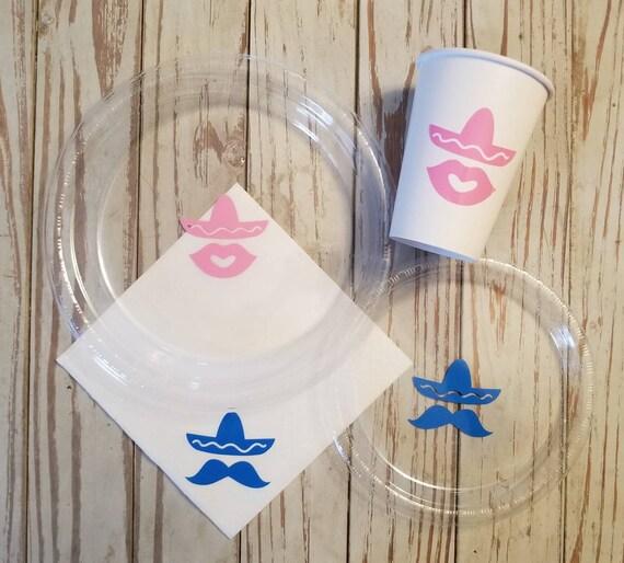 Fiesta plates, cups and napkins, baby shower plates, cups, nino or nina, senor or senorita, fiesta baby shower, bachelorette fiesta, first