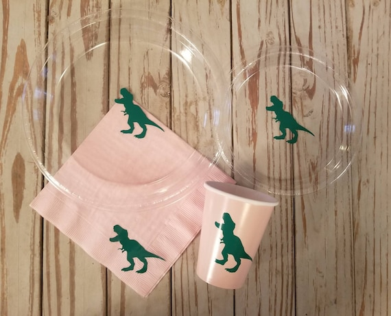 Dinosaur birthday party plates, cups and napkins, trex plates, trex cups,  trex napkins, girls dinosaur birthday party, girl dinosaur party