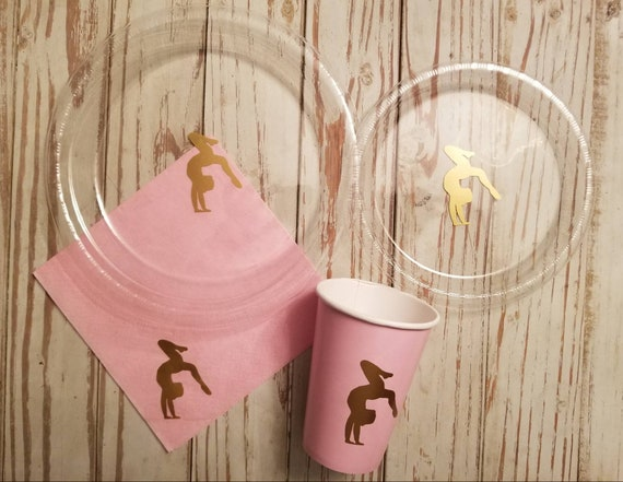 Gymnastic party plates, cups and napkins,  gymnastic birthday party plates, gymnastics tableware, gymnastics party decor, gymnastics cups,