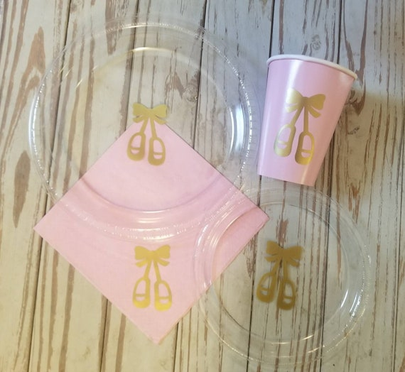 Ballerina party plates, cups and napkins, pink and gold ballet plates, cups, napkins, ballet birthday, dance party, dance birthday party