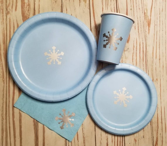 Blue and silver snowflake plates, cups and napkins, winter wonderland, first birthday, winter wonderland baby shower, snowflake birthday