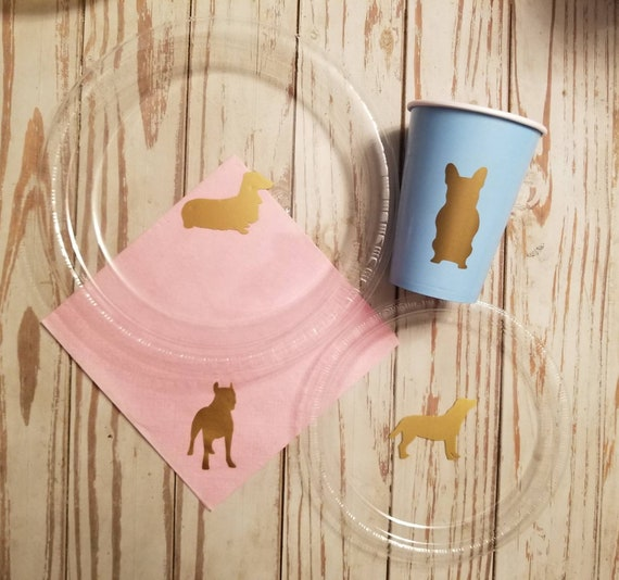 Dog party plates, cups and napkins, dog birthday party, lab party plates, dachshund party plates, boxer party plates, Boston terrier party