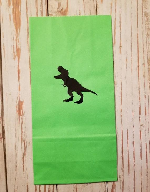 Trex treat bags, dinosaur treat bags, trex birthday party, trex party favor bag, dinosaur party favor bag, dinosaur party, green treat bags