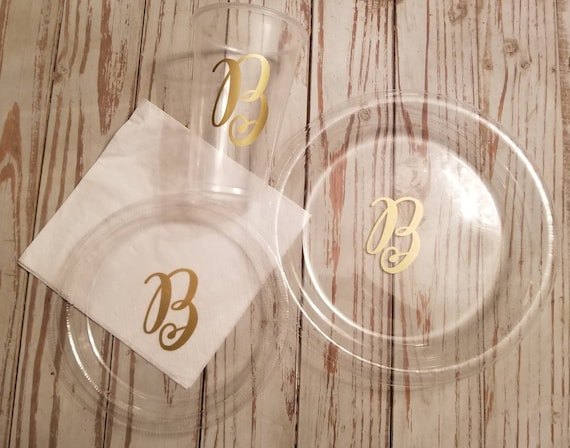 Monogrammed plates, cups and napkins, wedding shower plates and cups, personalized  plates, cups, wedding plates, wedding reception plates