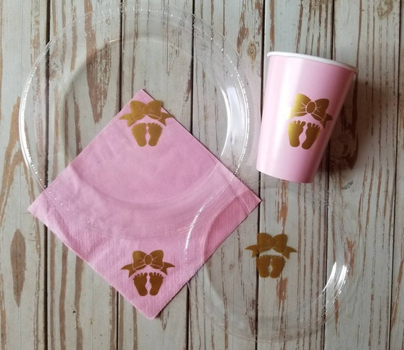 Girl baby shower pink and gold plates, cups and napkins,  Gender reveal plates, baby feet cups, baby shower plates, pink gold baby shower,