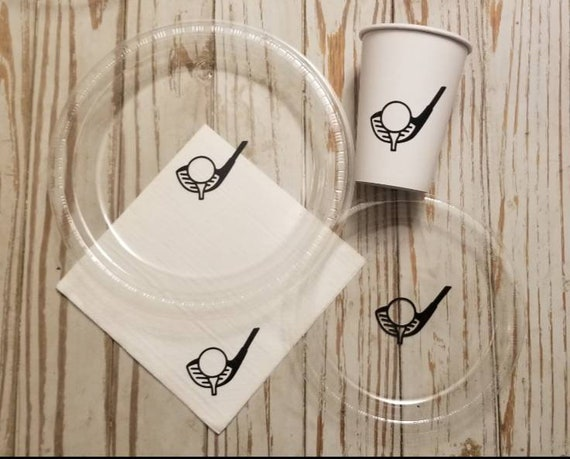 Golf plates, cups and napkins, golf retirement party, golf birthday party, golf reception, golf birthday plates, golf bachelor party plates