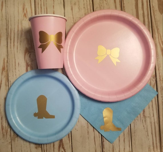 Boots or Bows gender reveal plates, cups and napkins, boots or bows baby shower, boots or bows baby shower, cowboy or cowgirl reveal