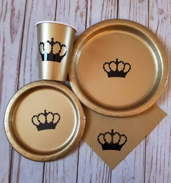 Royal crown black and gold party plates, cups and napkins, royal prince birthday, royal prince baby shower, king party, black and gold,