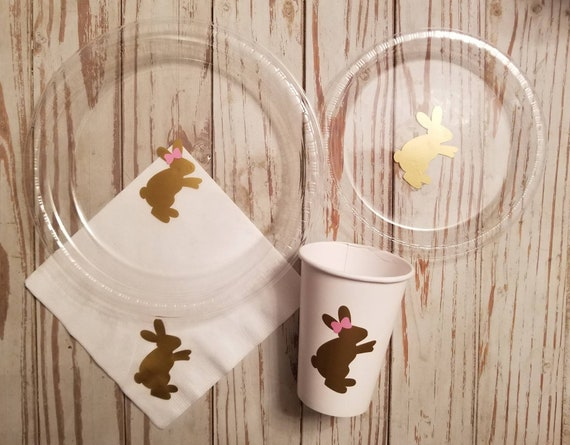 Bunny gender reveal plates, cups and napkins, some bunnys one party plates, cups, bunny baby shower, Easter party plates, bunny birthday
