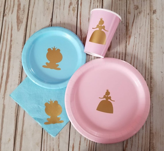 Prince or Princess gender reveal party, plates, cups, napkins, gender reveal plates, cups, napkins, princess or frog plates, frog prince