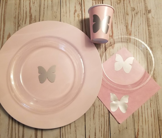 Butterfly party plates, cups and napkins, butterfly baby shower, first birthday party, pink and silver baby shower, baby shower cups, plates