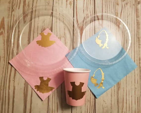 Lures or lace gender reveal plates, cups and napkins, tacklebox or tutu gender reveal plates, cups, napkins, fishing baby shower, tutus