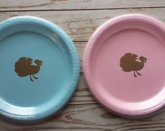 Little turkey, turkey, plates, cups and napkins, little turkey gender reveal, thanksgiving plates, cups and napkins, fall baby shower,