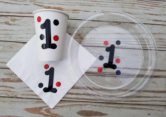 First birthday red and black plates, cups, napkins, lady bug birthday, lumber jack first birthday, one party decor, red and black party deco