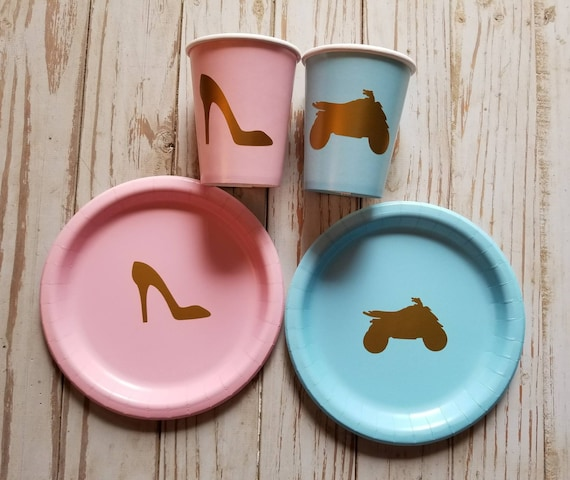 Heels or wheels gender reveal plates, cups and napkins, four wheeler or heels, ATV gender reveal, baby shower plates, cups, ATV party