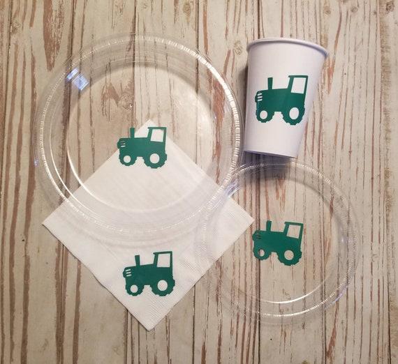 Tractor plates, cups, napkins,  farm birthday party plates, napkins, farm birthday plates, cups, tractor birthday party, tractor baby shower