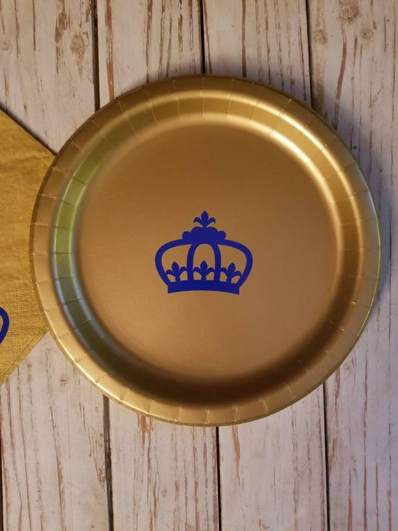 Royal prince blue and gold crown plates, cups and napkins, prince baby shower, prince first birthday, king party, crown Prince party, prince