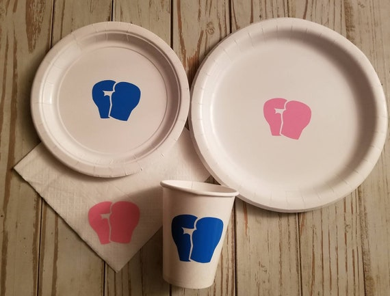 It's a knockout gender reveal, the fight is on gender reveal plates, cups, napkins, boxing gender reveal, little fighter baby shower, boy