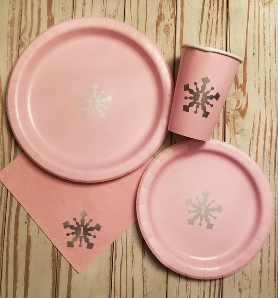 Snowflake plates, cups and napkins, pink and silver, winter wonderland party, winter wonderland baby shower, winter onederland birthday, 1st