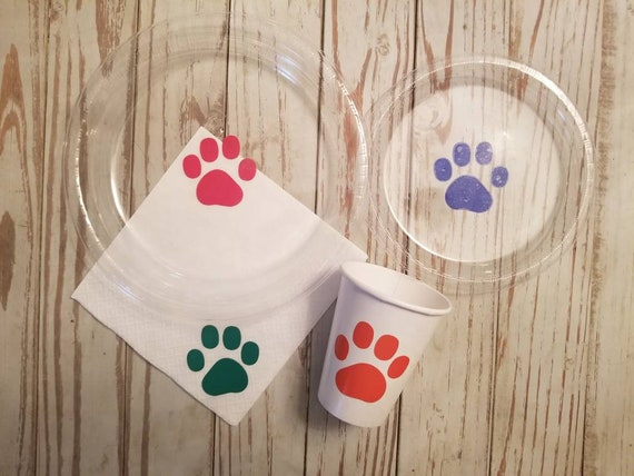 Puppy dog party plates, cups and napkins, puppy paw party, dog party first birthday, puppy birthday party, dog birthday, baby shower plates,