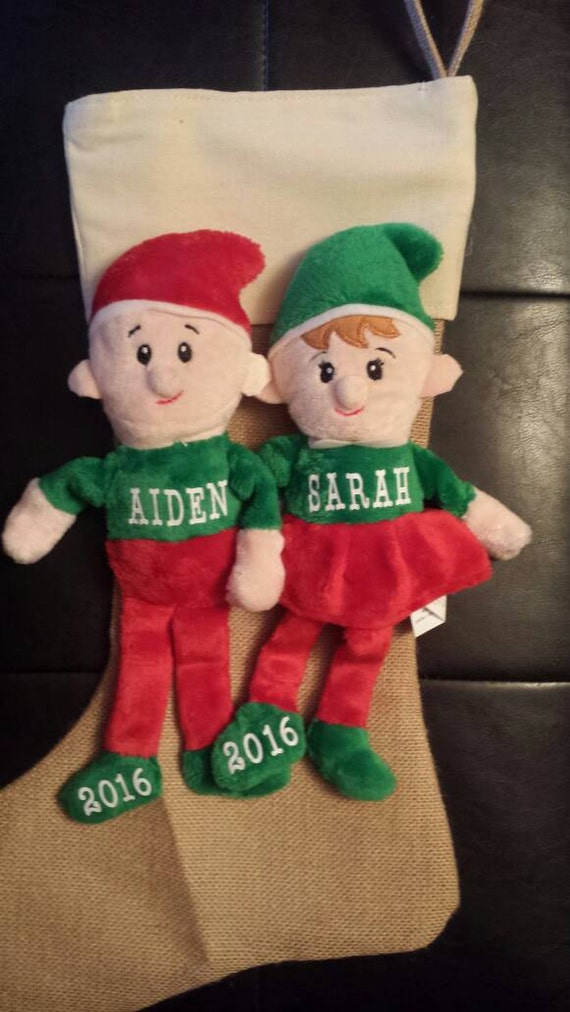 Personalized Elves Babys First Christmas Personalized Etsy