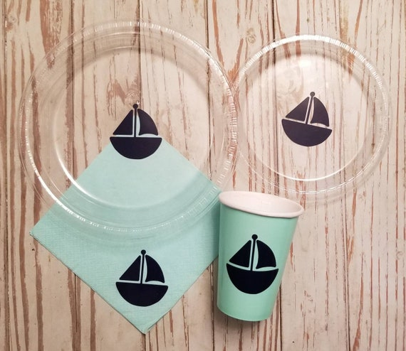 Sailboat plates, cups and napkins, boy baby shower plates, cups, napkins, boat plates, cups, napkins, sailboat baby shower, mint and navy