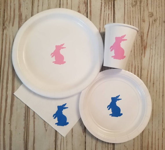 Bunny gender reveal plates, cups and napkins, bunny baby shower plates, bunny first birthday party, Easter gender reveal, some bunny is one