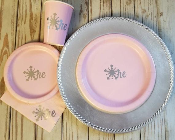 Winter wonderland first birthday pink and silver plates, cups and napkins, winter wonderland birthday party, pink and silver snowflake cups
