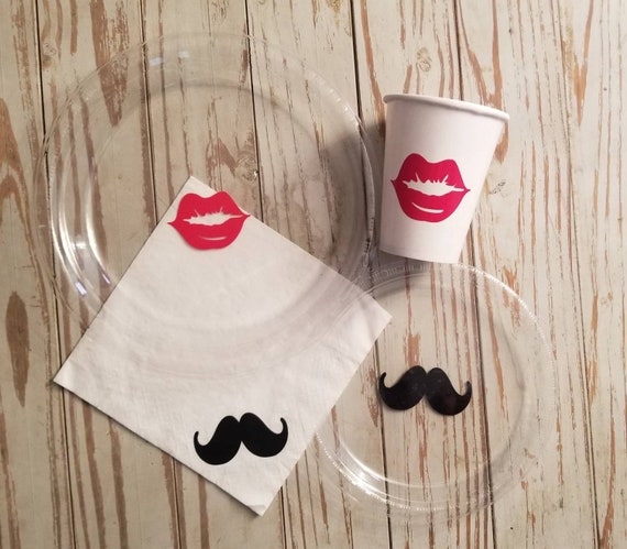 Red lip plates, mustache plates, cups and napkins, bachelorette party plates, cups, mustache shower, little man or little miss gender reveal