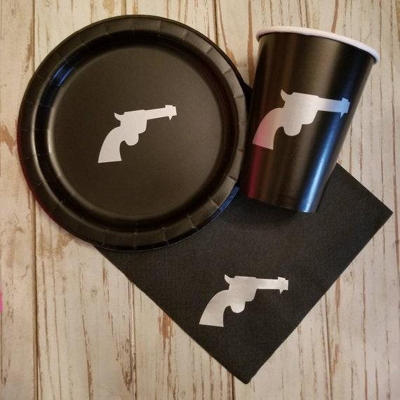 Pistol plates, cups, napkins,  cowboy party plates, western party plates, cowboy baby shower, boy baby shower plates, cups and napkins, bday