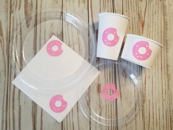 Donut party plates, cups, napkins and treat cups, donut birthday,  donut baby shower, donut bridal shower, donut party, baby sprinkle, donut