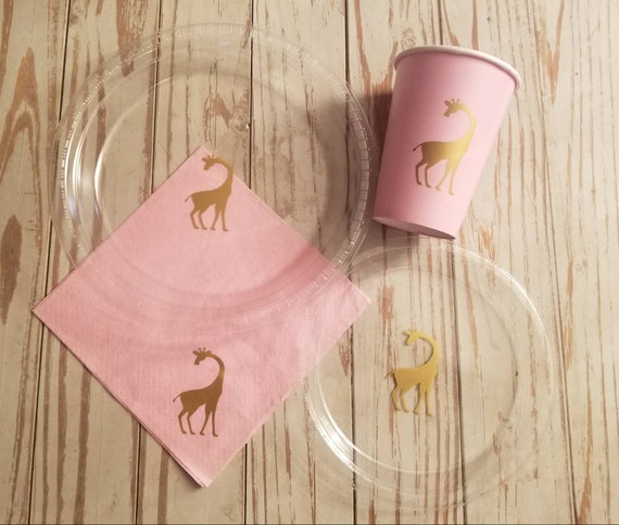 Giraffe plates, cups and napkins, giraffe baby shower, giraffe birthday party, safari party, zoo party, zoo baby shower, safari baby shower