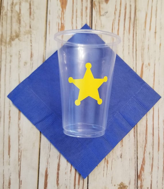 Sheriff party cups, sheriff birthday party, police birthday party, sheriff retirement party, police retirement party, law enforcement party