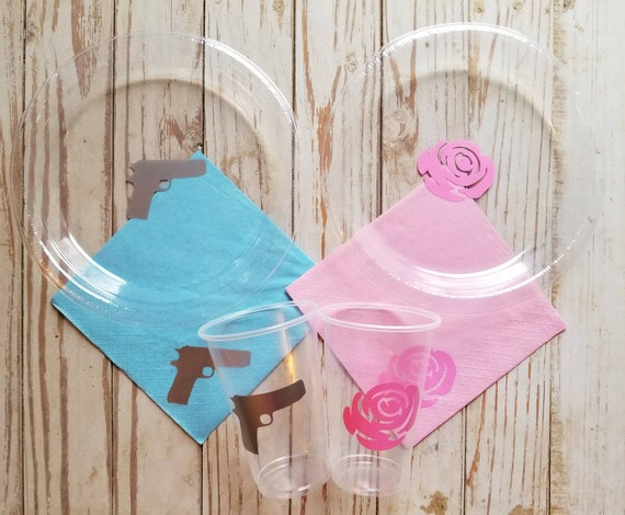 Rose or gun gender reveal plates, cups and napkins, gun or rose reveal party, gender reveal plates, cups, boy or girl, baby shower plates,