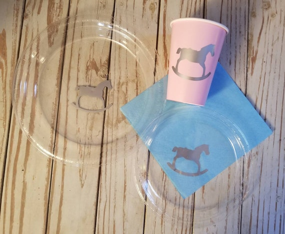 Rocking horse plates, cups and napkins, horse baby shower, gender reveal plates, cups, napkins, boy baby shower plates, girl baby shower