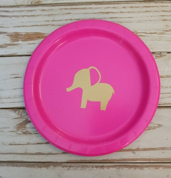 Elephant pink and gold plates, cups and napkins, elephant baby shower, elephant birthday party, jungle baby shower,  safari baby shower, zoo