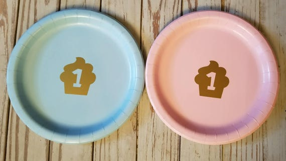 First birthday plates, cups and napkins, first birthday party, one decor, the big one, pink and gold party, twin birthday, cupcake party