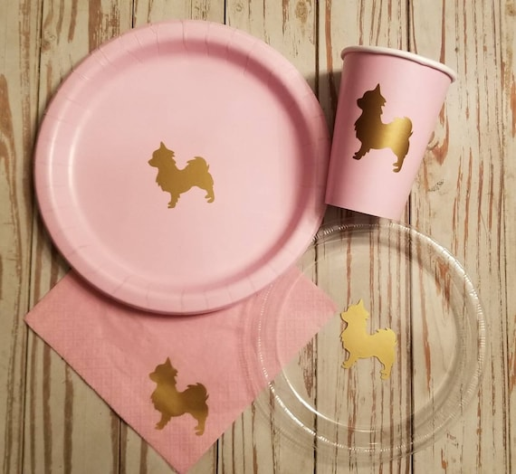 Chihuahua plates, cups, and napkins, dog party plates, dog birthday, dog baby shower, dog party supplies, chihuahua party
