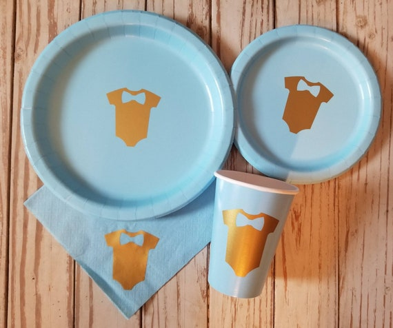 Bow tie baby shower plates, cups and napkins, boy baby shower, first birthday blue and gold plates, cups, napkins, it's a boy, little mister