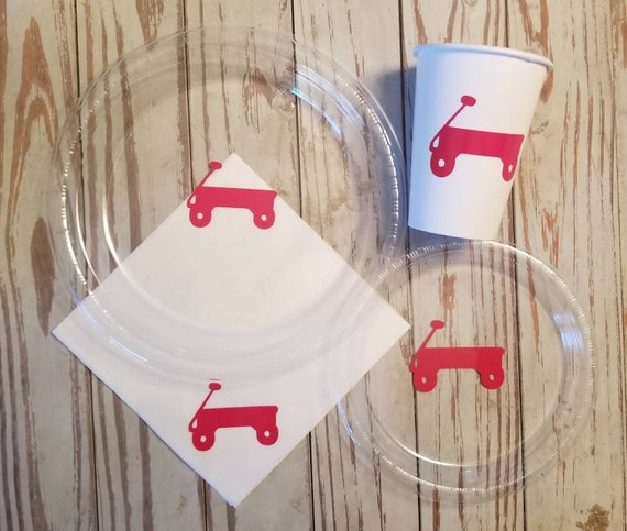 Little red wagon plates, cups and napkins, little red wagon birthday party, red wagon baby shower, red wagon party, first birthday party,