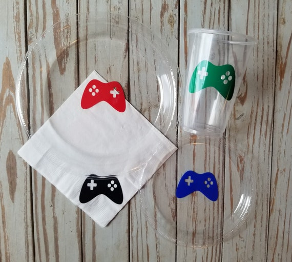 Video game plates, cups and napkins, video game birthday party, gamer party supplies, gamer birthday, boys birthday party, video game party