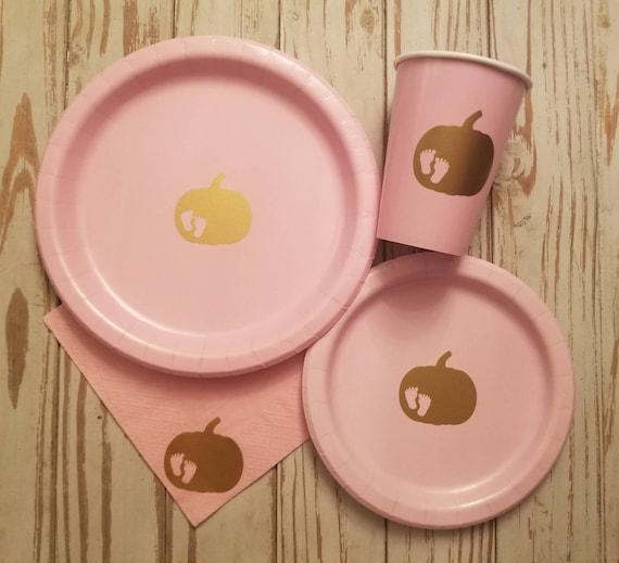 Pumpkin baby shower plates, cups and napkins, pumpkin party, pumpkin gender reveal plates, fall baby shower, twin baby shower plates, cups