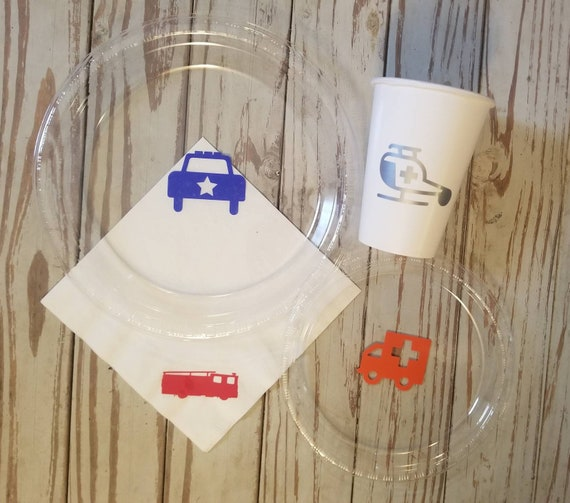 Rescue vehicle party plates, cups and napkins, emergency vehicle party cups, rescue vehicle birthday plates, cups and napkins, police party
