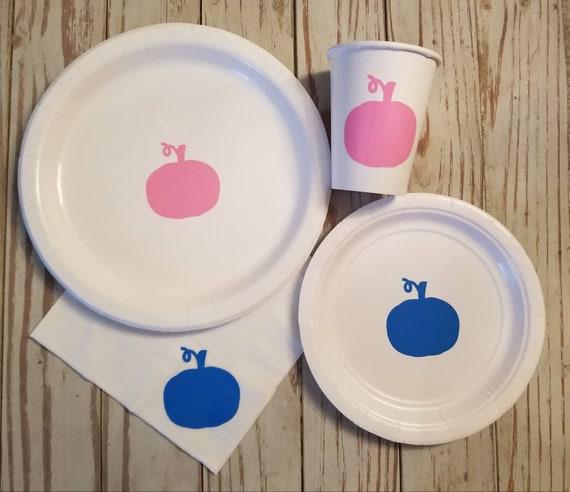 Pumpkin gender reveal plates, cups and napkins, pumpkin first birthday, fall gender reveal, harvest baby shower, pumpkin baby shower, party