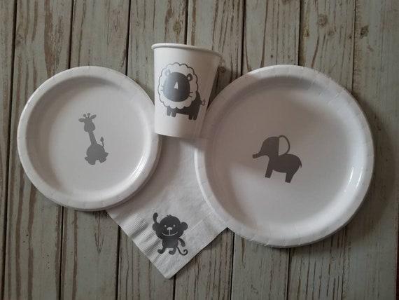 Safari party plates, cups, napkins, elephant baby shower plates, cups, napkins, zoo baby plates, baby safari animal plates, elephant party,